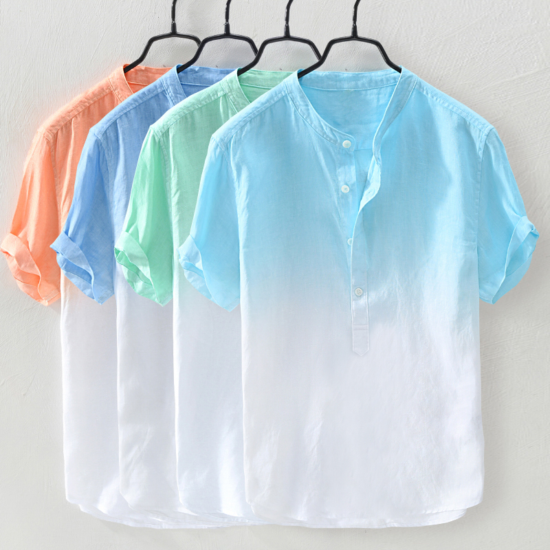 Mens Gradient Color Summer Cotton Loose Casual T-shirts