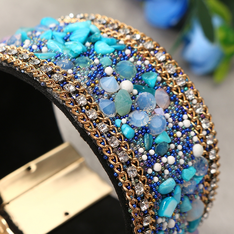 Wide Belt Leather Crystal Stone Magnetic Buckle Bracelet