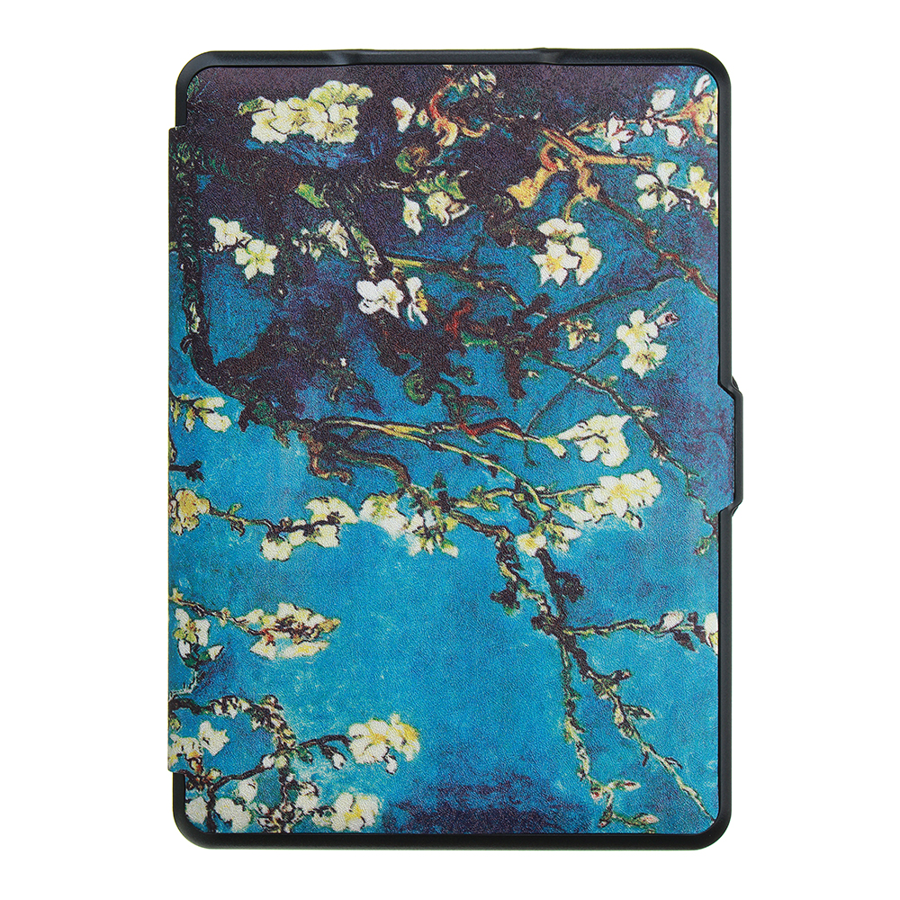 ABS Plastic Apricot Blossom Painted Smart Sleep Protective Cover Case For Kindle Paperwhite 1/2/3 eBook Reader