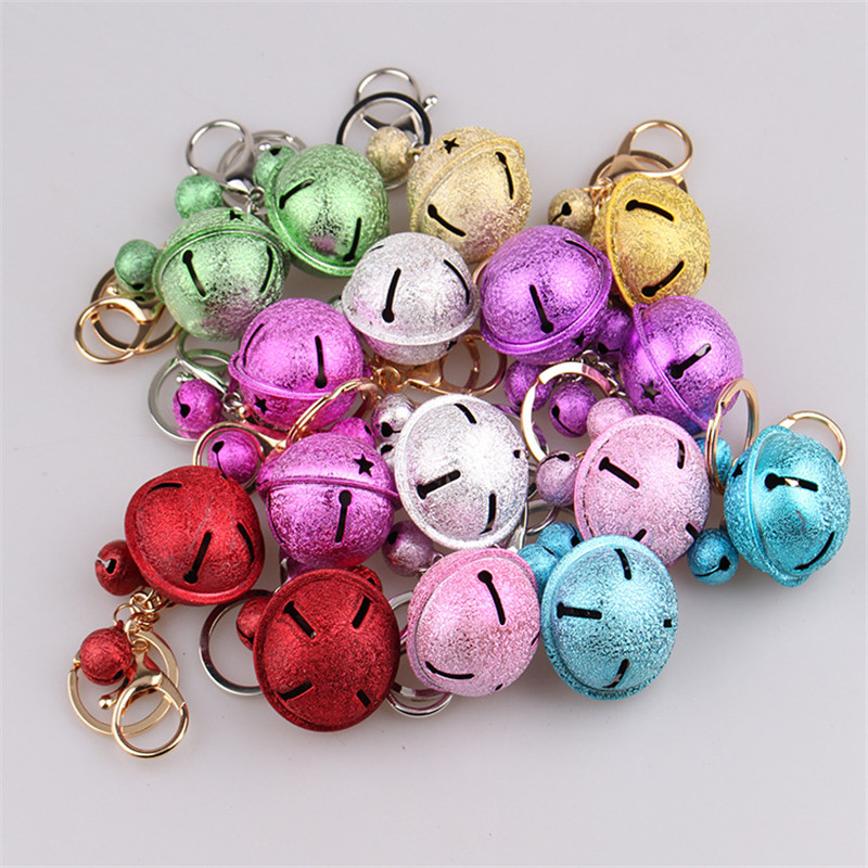 Christmas Party Home Decoration MultiColor Bells Pendant Keychain Toys For Kids Children Gift