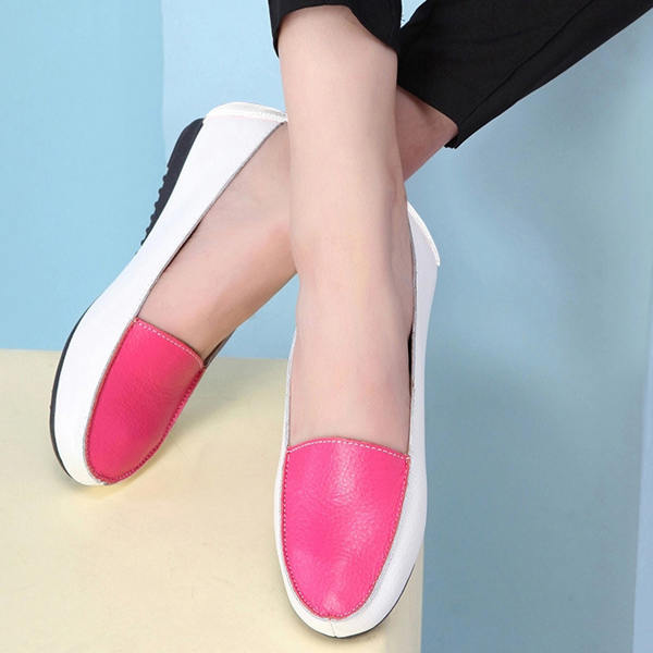 Women Fashion Autumn Flats Slip On Soft Sole Shoes Anti Skid Loafers