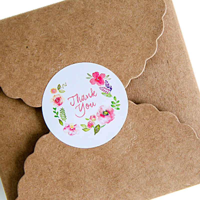 10pcs/sheets Round Floral Thank You Adhesive Paper Stickers Decorative Packaging Labels Gift Bags