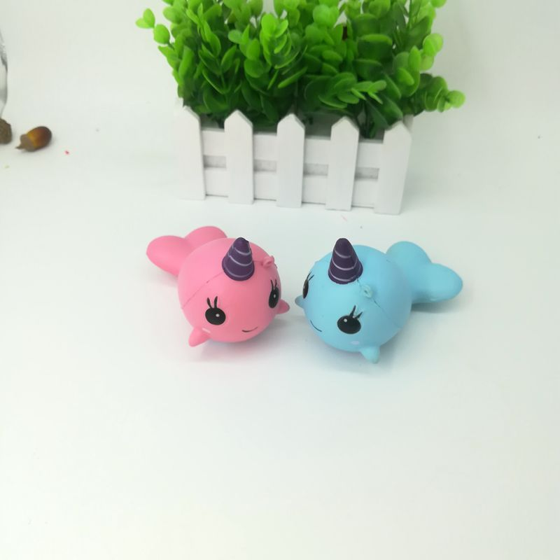 Squishy Narwhal Uni Whale Pink 11cm Slow Rising Cute Soft Collection Gift Decor Toy