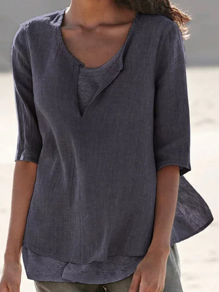 Eachine1 / Women V-neck Half Sleeve Solid Color Casual Blouse