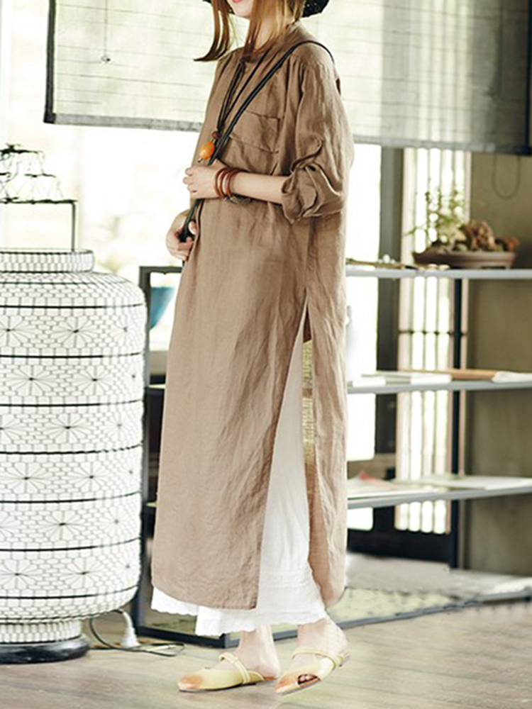 Women Causal Crew Neck Long Sleeve Side Split Shirt Dress