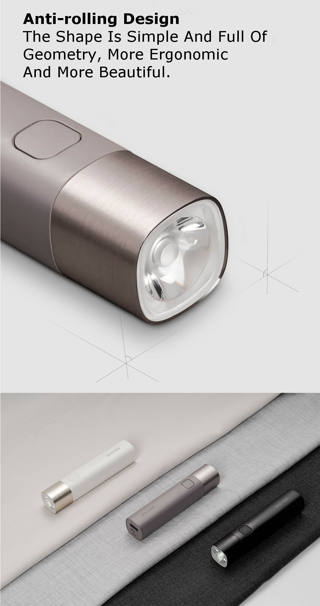 XIAOMI SOLOVE X3 USB Rechargeable Brightness EDC Flashlight 3000mAh Power Bank Mini LED Torch Bike Light