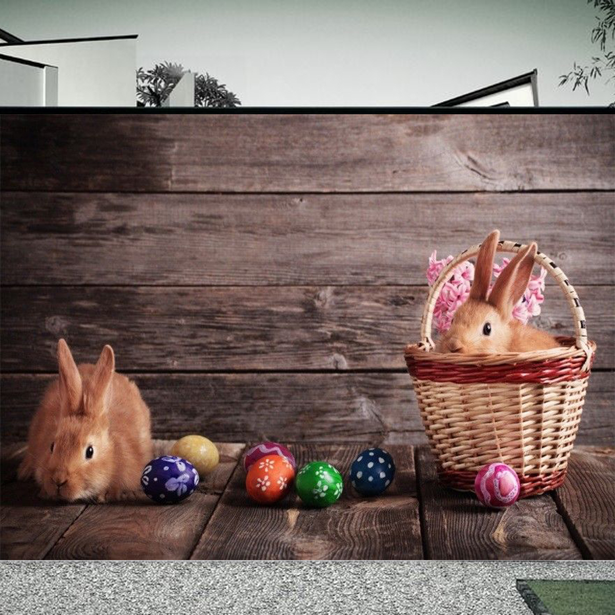 7x5FT Cute Rabbits Easter Eggs Photography Backdrop Studio Prop Background