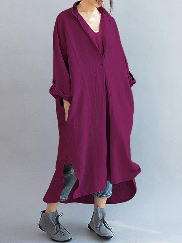 V-Neck Solid Color Midi Dress