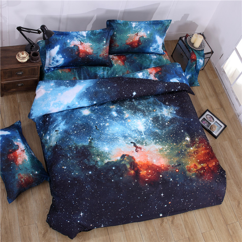 Honana WX-8868 3/4pcs Galaxy 3D Bedding Sets Universe Outer Space Duvet Cover Fitted Bed Sheet Pillowcase