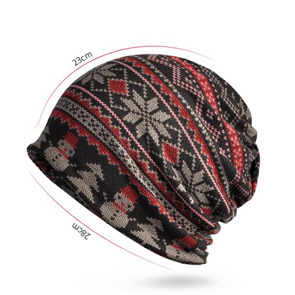 Women Print Cotton Warm Multi-function Beanie Hats