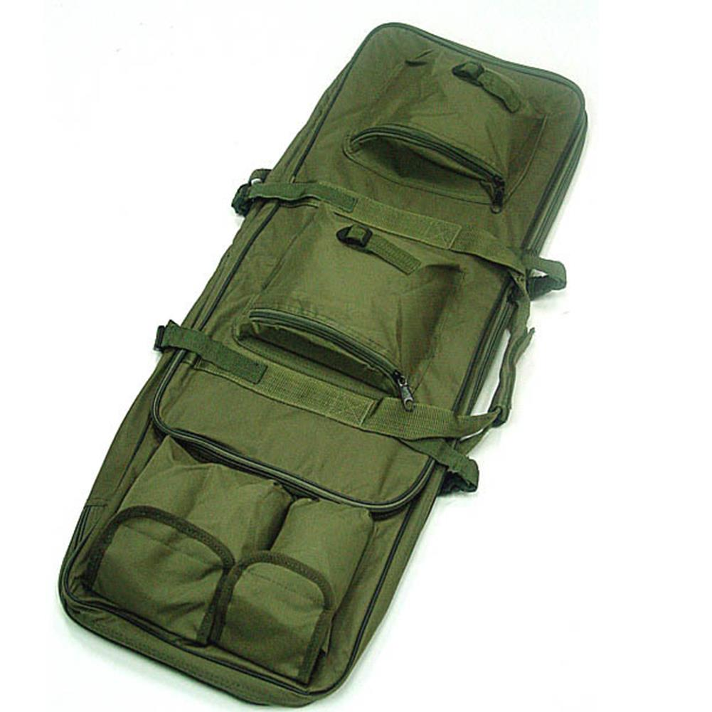Specifications: Color: Black / Army green(optional) Material: 600D Nylon Item size: 92 * 28 * 8cm / 36.22 * 11.02 * 3.15in (L* W * H) Capacity: 20-35L Weight: 1000g Features: Constructed with durable 600D nylon, suitable for hunting competition. A padded #handbag