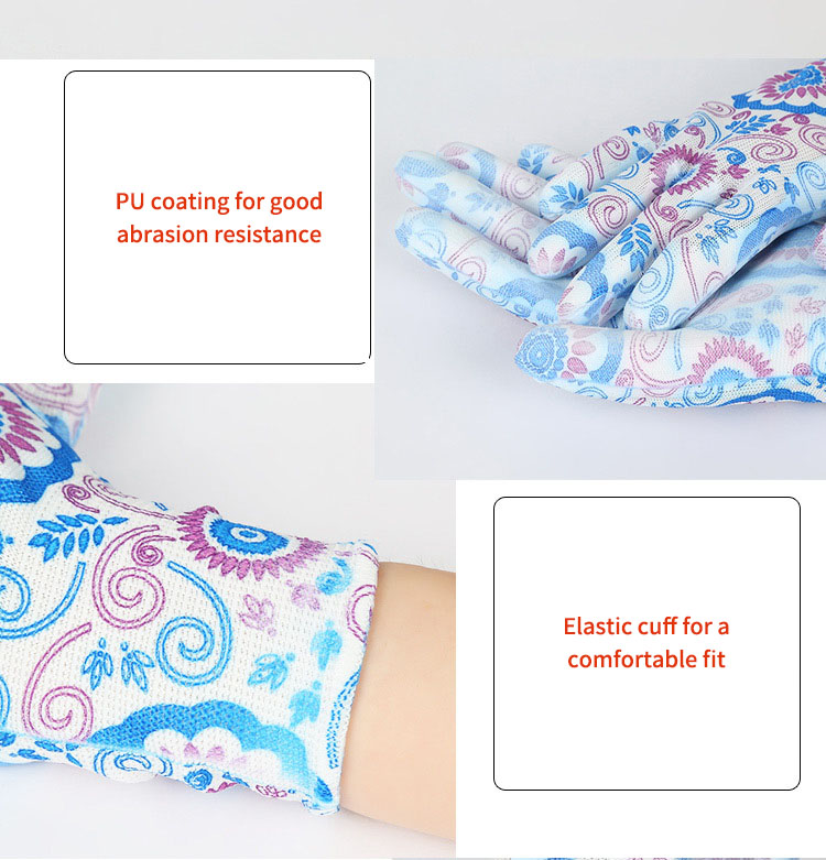 Gardening Protective Nylon Gloves Printed Universal Elastic Glove for Outdoor Working