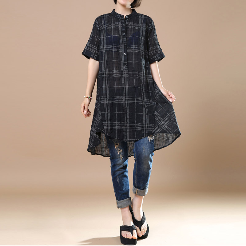 Women Short Sleeve Plaid Irregular Cotton Blouse
