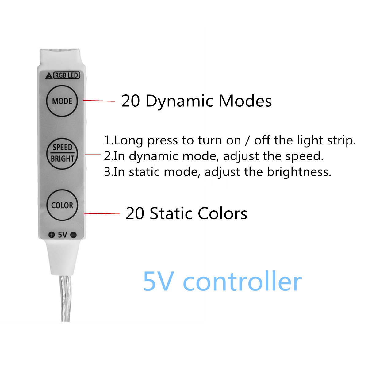 50cm 100cm 150cm 200cm Waterproof Battery Powered 5050 RGB Multicolor LED Flexible Strip Light