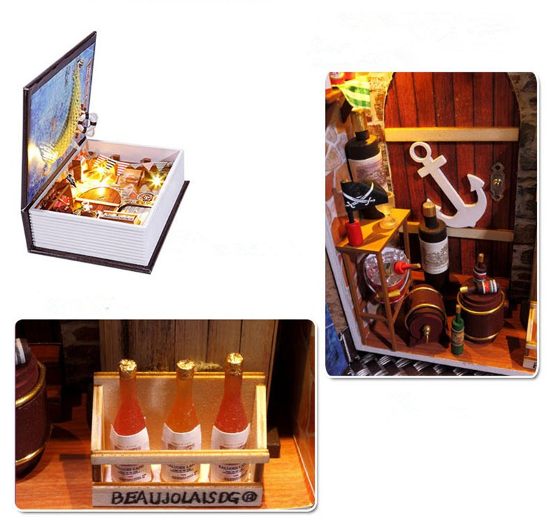 Hoomeda B001 Sailing Diary Pirates Boat DIY Dollhouse Kit Box Theatre Doll House Kid Gift Collection
