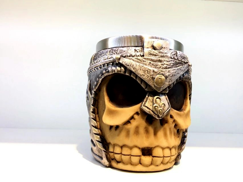 Honana 400ml Skull Bones Fiendish 3D Tankard Mug Metal Drinking Cup Coffee Beer Pirate Gothic Cup