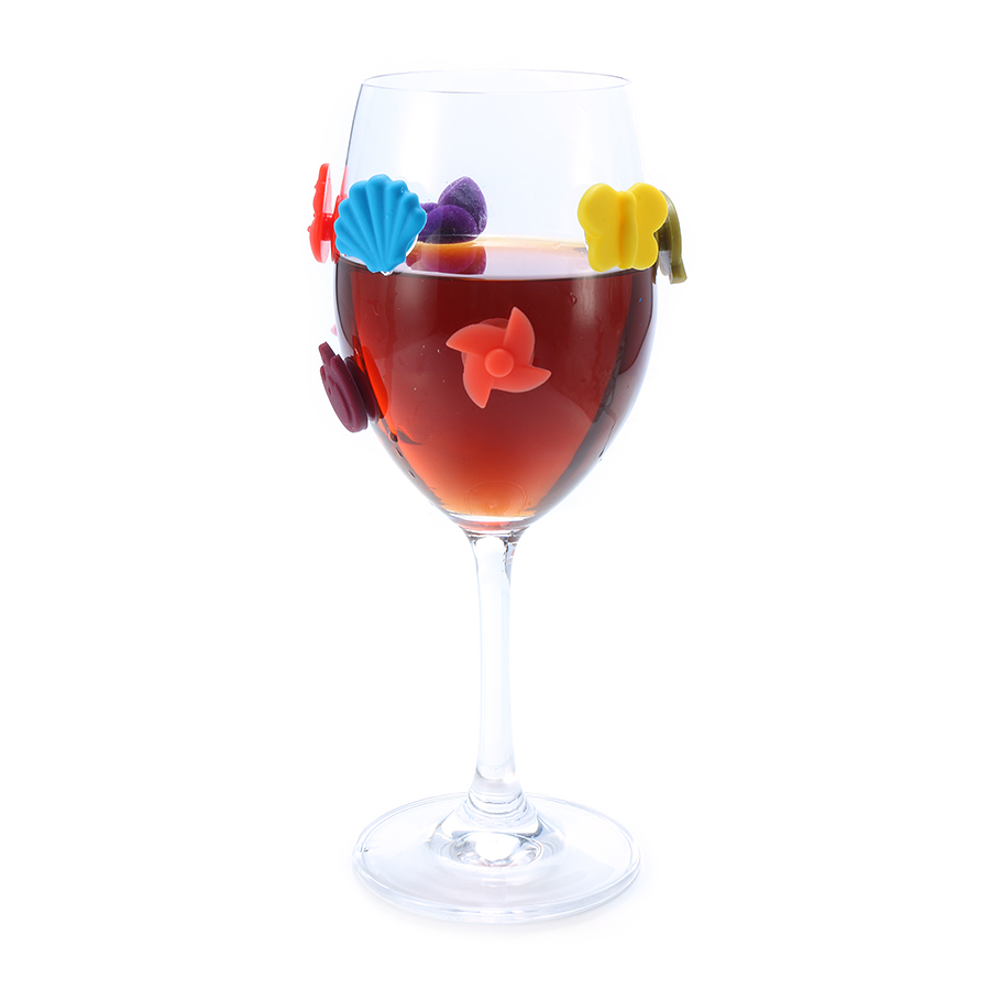 8Pcs Silicone Beach Magnetic Wine Charm Wine Glasses Cocktail Drinks Maker Bar Tools