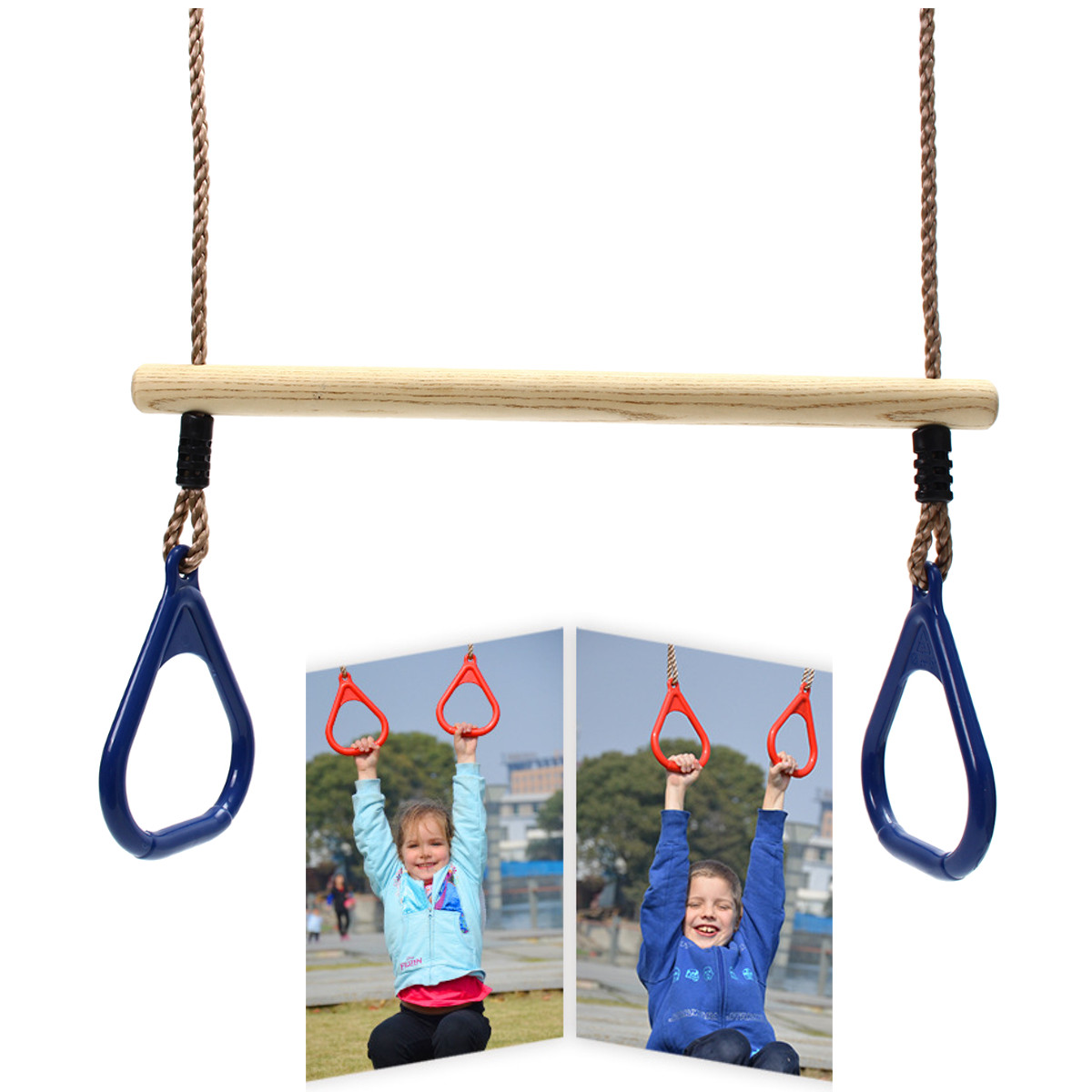 Wooden Jungle Gym Swing Seat Hammock Chair For Outdoor Children's Fitness Sports Swing Training