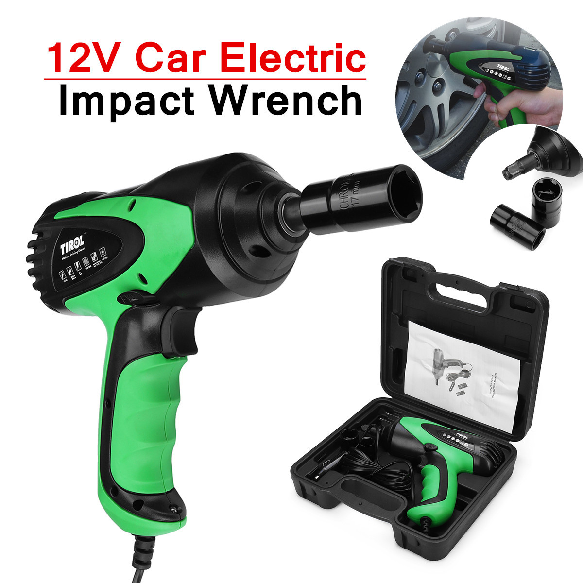 12V Portable Electric Impact Wrenche Emergency Roadside Car Power Kit Tools+Case