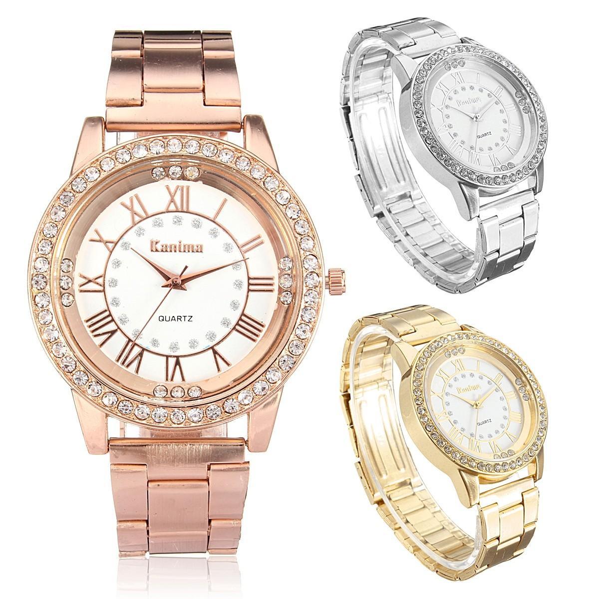 Men Women Crystal Rhinestone Plated Stainless Steel Analog Quartz Wrist Watch With Logo