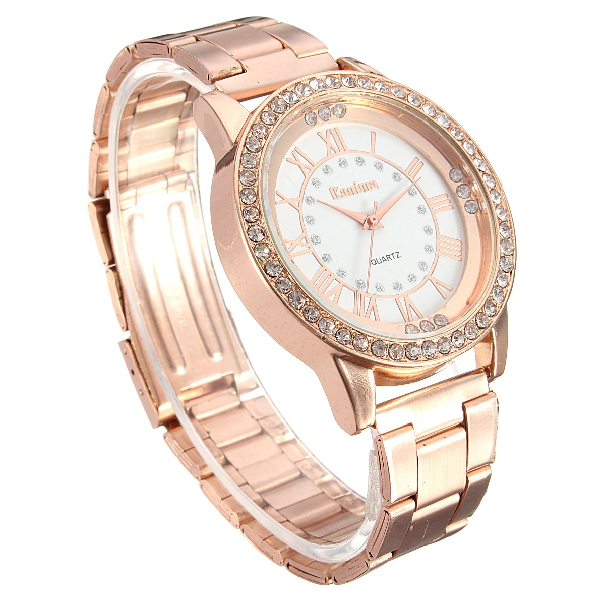 Men Women Crystal Rhinestone Plated Stainless Steel Analog Quartz Wrist Watch With Logo