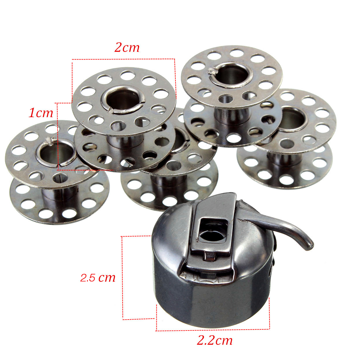 Stainless Steel Sewing Machine Accessories 5 Bobbins 1 Bobbin Case For Brother Toyata Singer