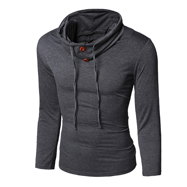 Mens Fashion Style Long Sleeved T-shirt Casual Button Slim Tether Tops Tees