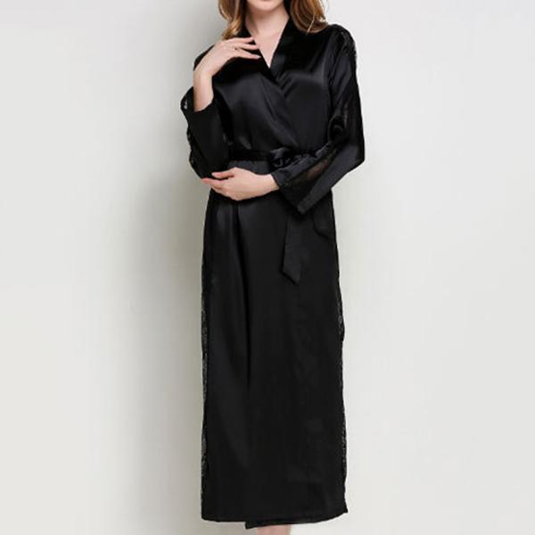 Women Lace Smooth Silk-like Leisure Breathable Bath Robe