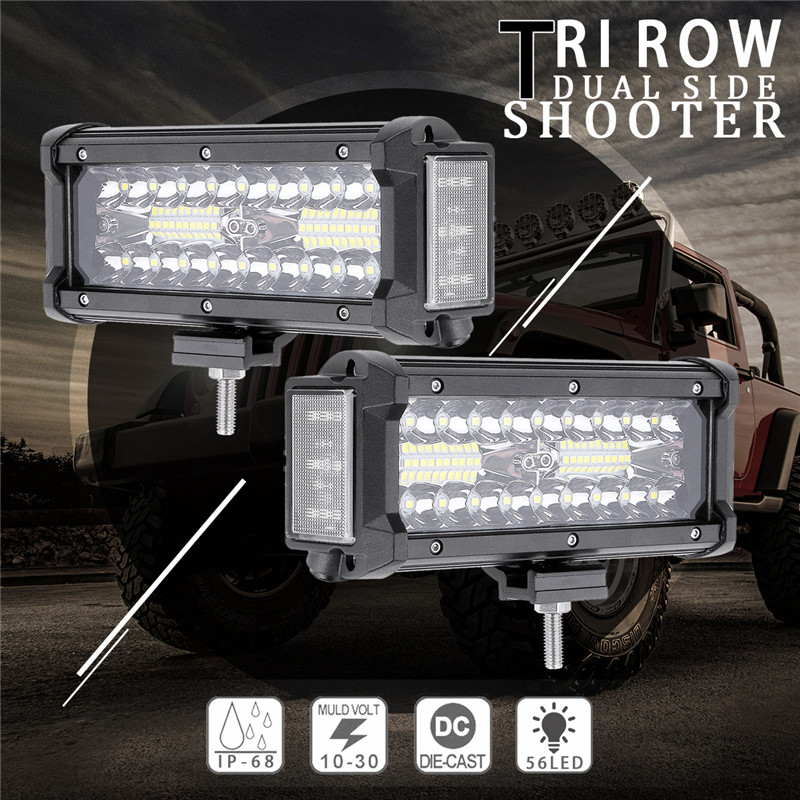 6.5Inch 112W LED Work Light Bar Side Shooter Flood Spot Combo Beam for Jeep Offroad ATV SUVt