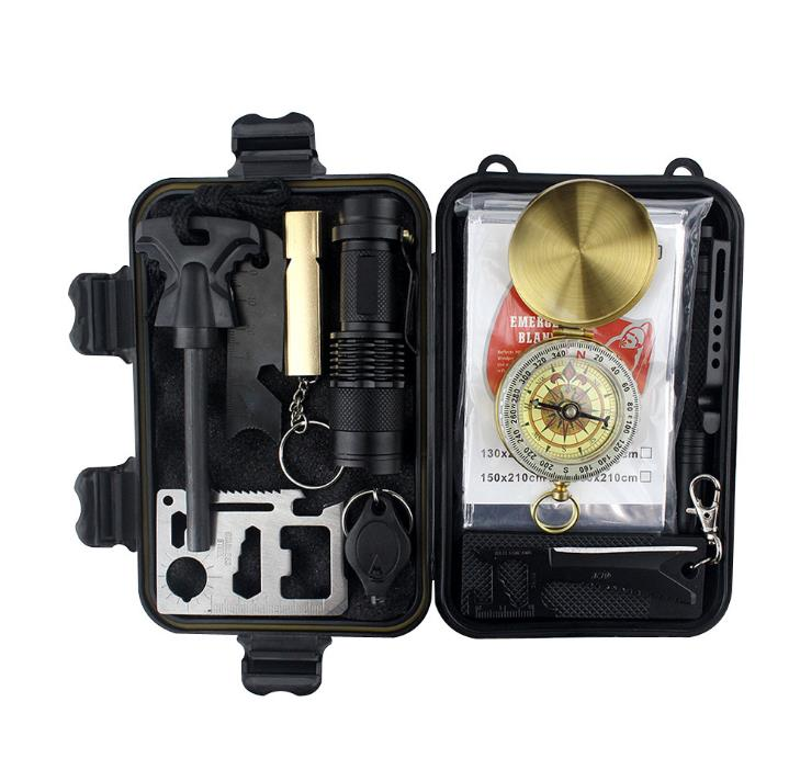 Emergency SOS Survival Tools Kit Survival Gear Kit With Umbrella Rope Compass Whistle Carabiner