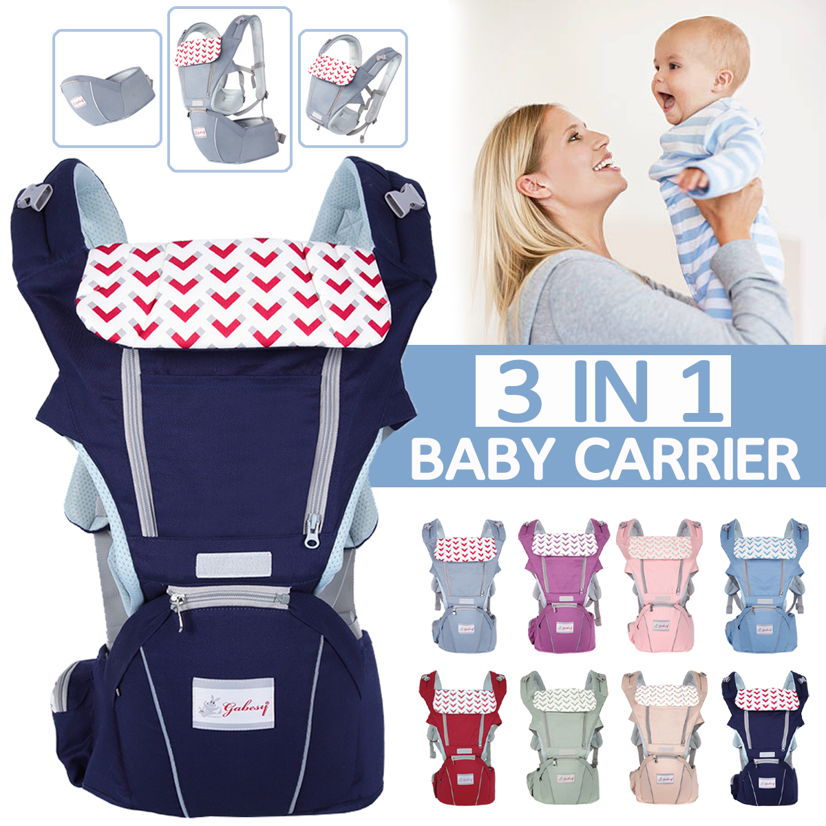 0-36 Months 3 in 1 Breathable Front Baby Carriers Waist Stool Infant Comfortable Wrap Sling Backpack