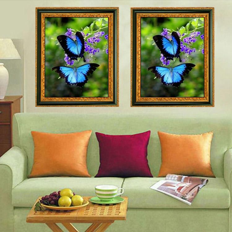 20x30cm 5D DIY Blue Butterflies Diamond Painting Rhinestone Animal Home Decoration Cross Stitch Kit