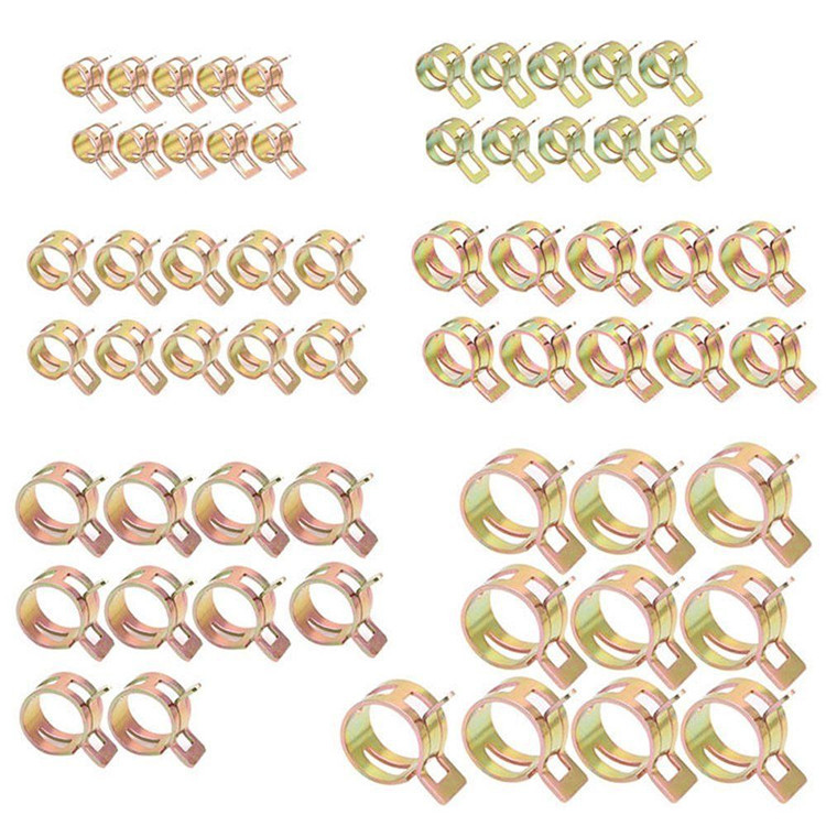 100Pcs 10 Sizes Spring Steel Clip Fuel Oil Water Hose Clips Silicone Pipe Clamp