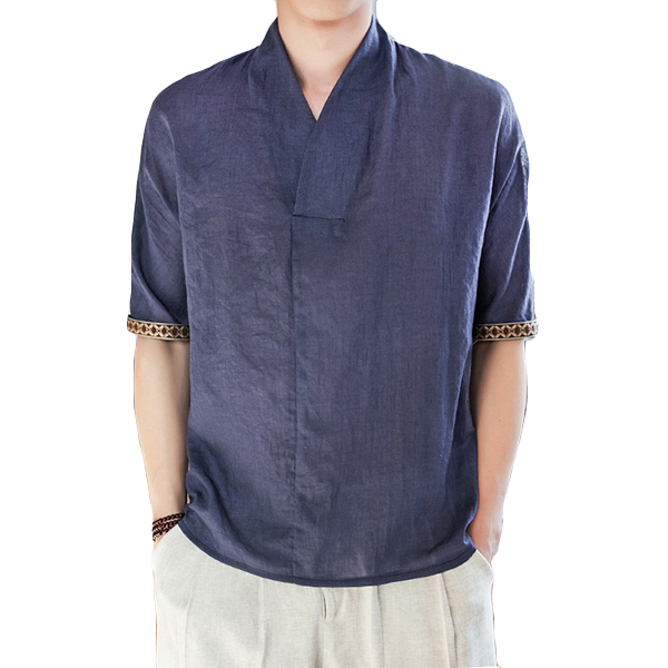 Men's Vintage Chinese Style Cotton Linen T-Shirts
