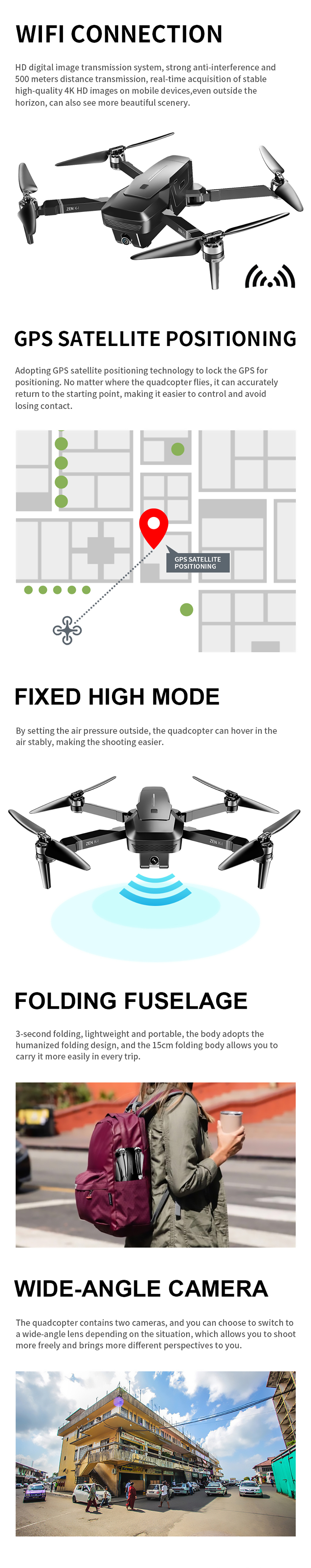 VISUO ZEN K1 5G WIFI FPV GPS With 4K HD Dual Camera Brushless Foldable RC Drone Quadcopter - Photo: 2