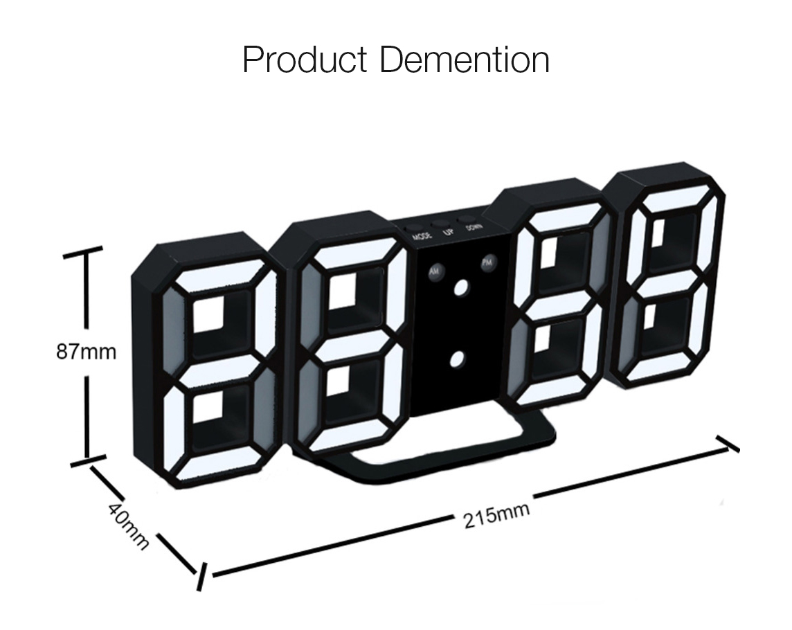 Loskii HC-201 Creative USB Charging Black 3D Digits Adjustable Brightness Snooze Function Night Mode LED Alarm Clock