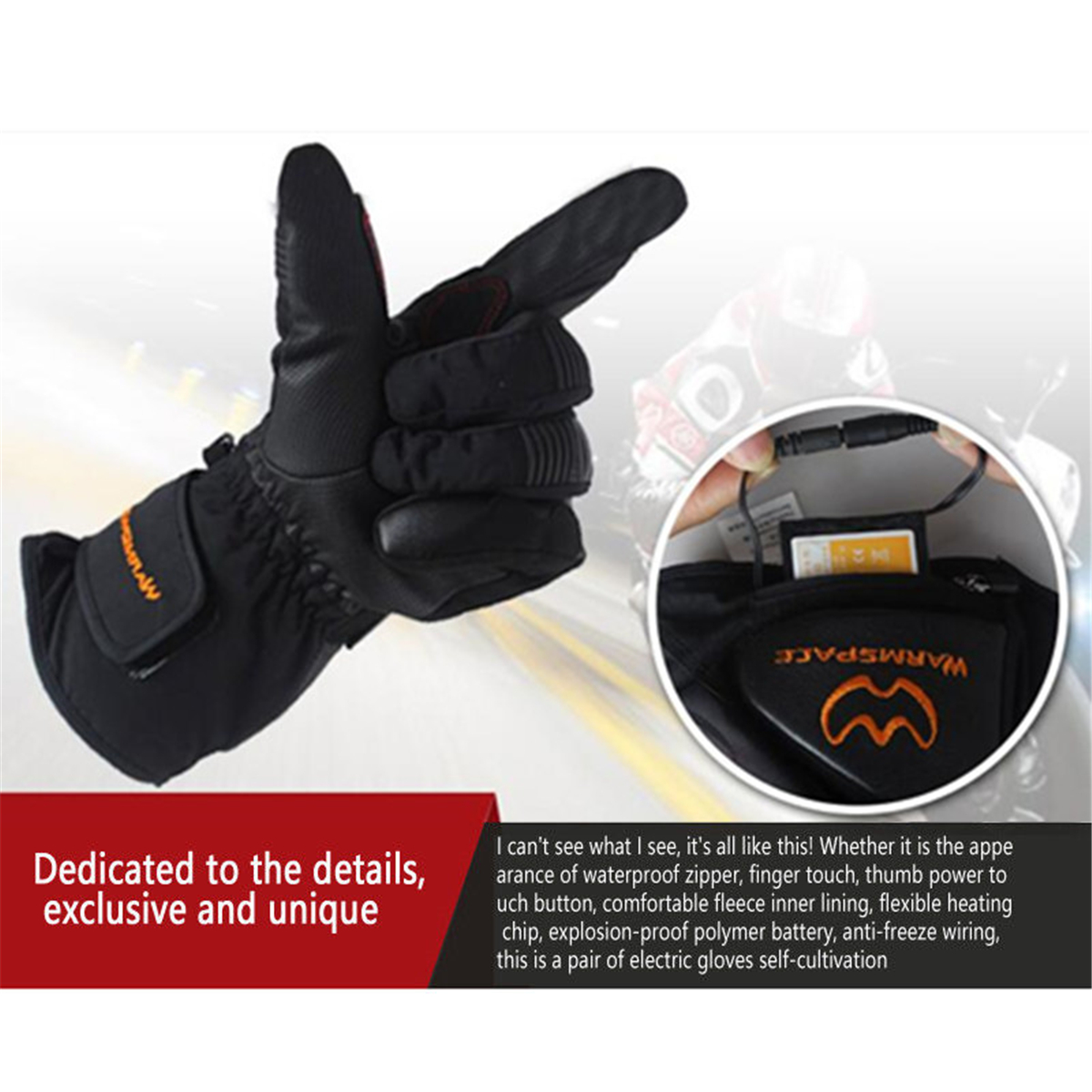 Electric Heated Gloves Rechargeable Battery Winter Motorcycle Skiing Hand Warmer Waterproof