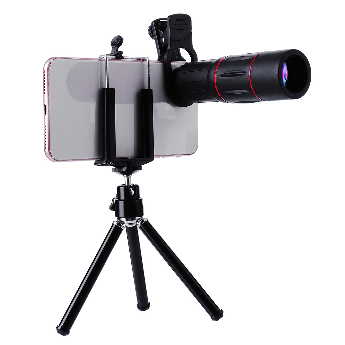 Universal 18X ZOOM Telephoto Lens with Phone Clip Clamp Mini Desktop Tripod