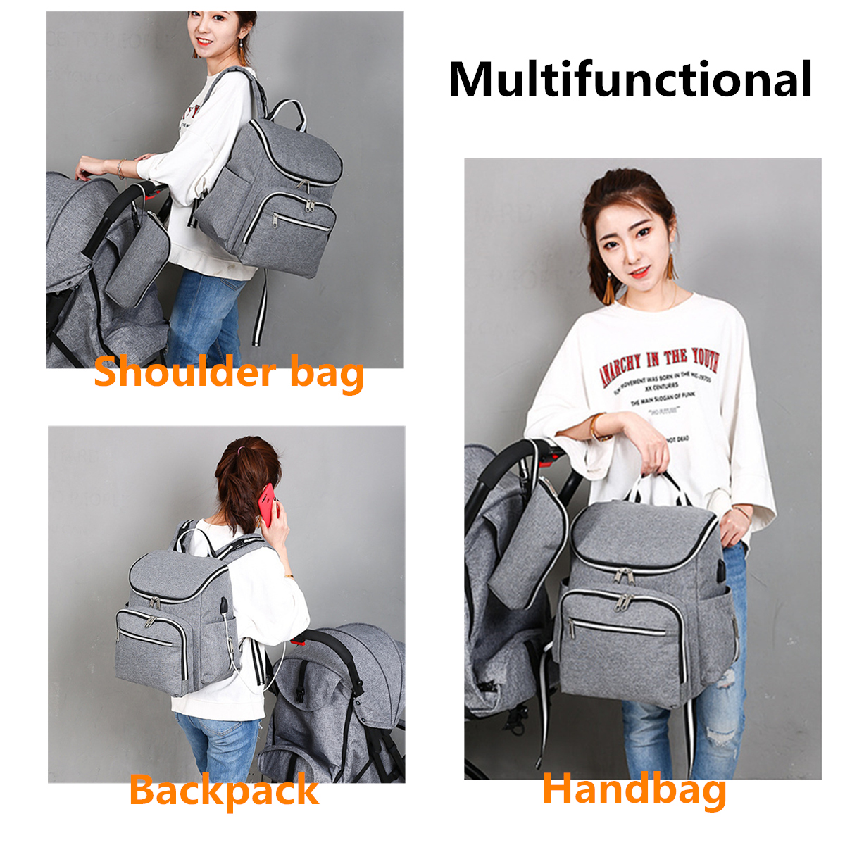 20L Outdoor Travel USB Mummy Backpack Waterproof Multifunctional Baby Nappy Diapers Bag