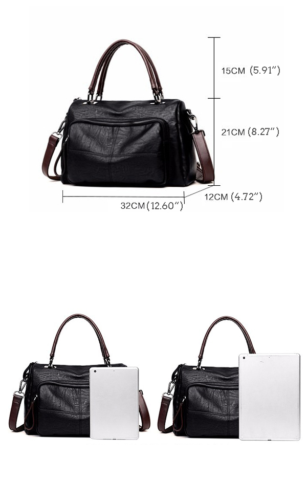 Women Elegant Pure Color Handbags Plaid Crossbody Bags