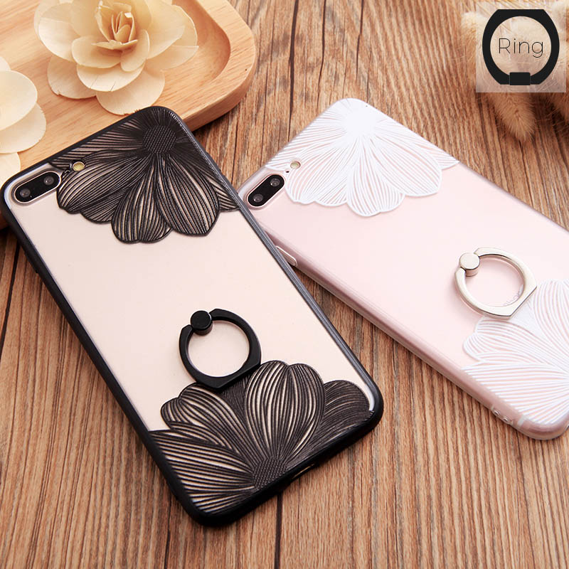 Lace Flower Pattern Ring Grip Holder Case For iPhone 7