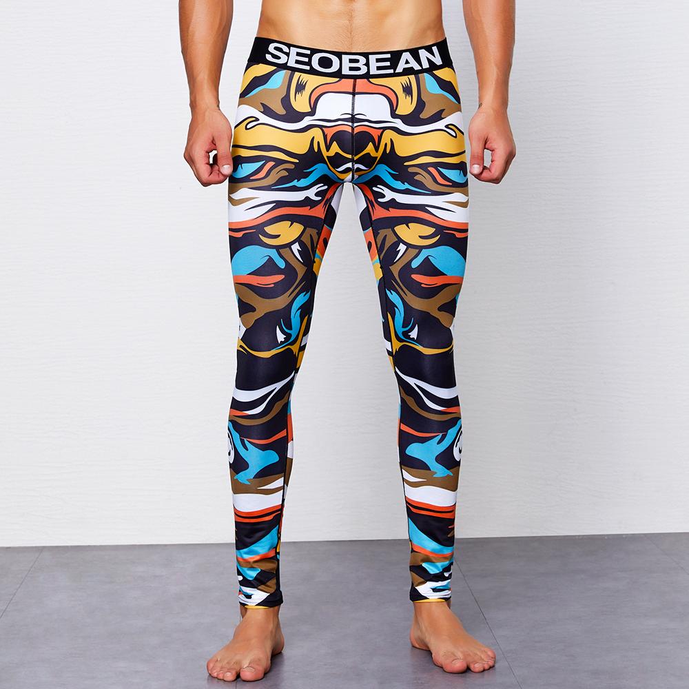 SEOBEAN Men Printing Tight Shapwear Home Underwear Long John