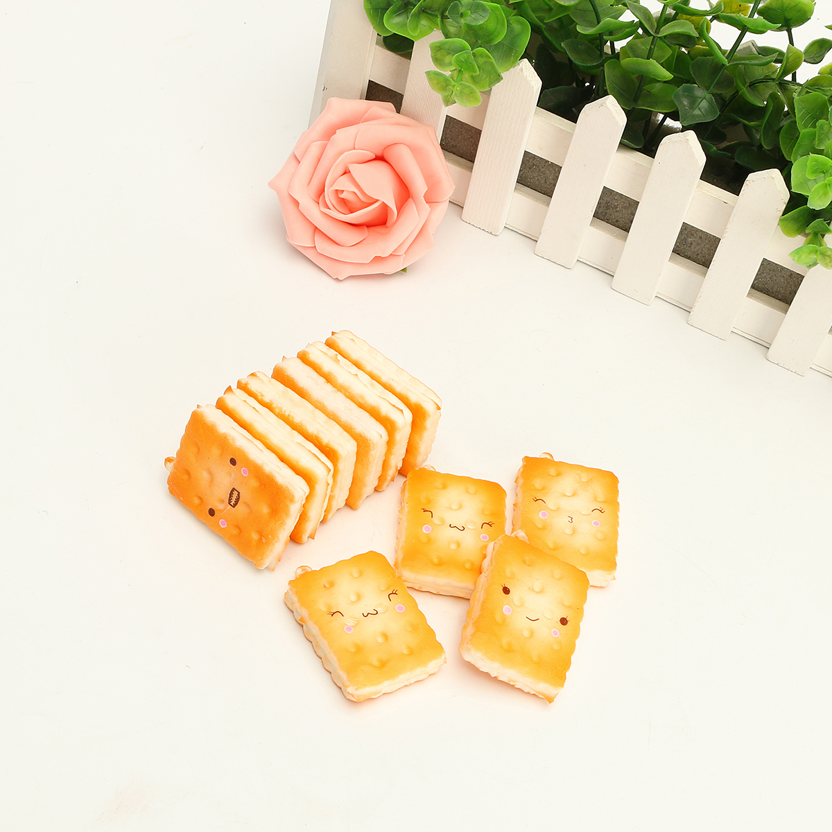 10PCS New Cute Funny Kawaii Face Simulate Biscuit Cookie Squishy Toy Stress Reliever Phone Chain