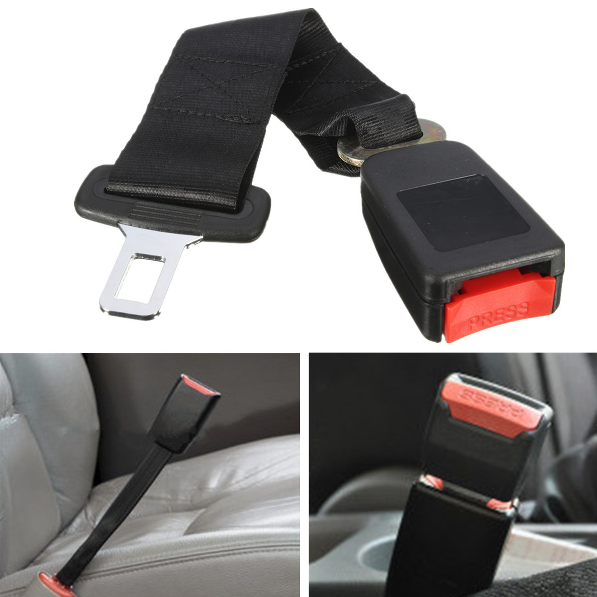 1Pcs 14 Inch Polyester Safety Belt 7/8 Inch Buckle Seat Belt Car Seat Belt Extender Black