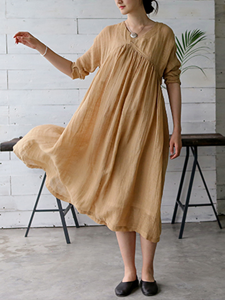 S-5XL Vintage Women Solid Color V-Neck Long Sleeve Dress