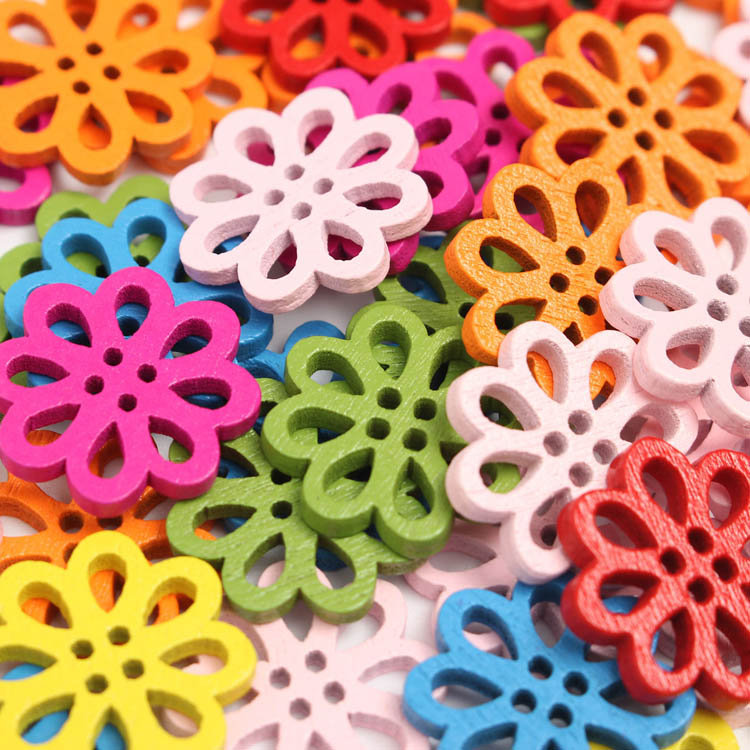 50pcs Various Colors Wooden Flowers Sewing Buttons DIY Craft Baby Clothes Hat Decoration Sewing But