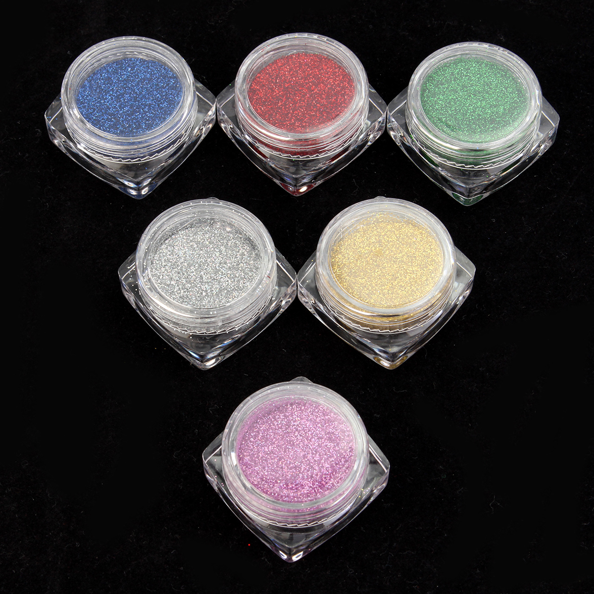 6 Colors Glitter Rainbow Nail Art Powder Shiny Magic Decoration Dust Pigment