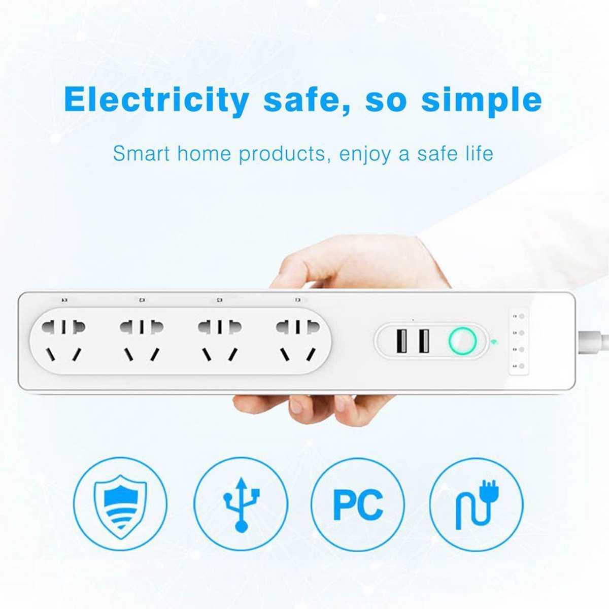 WiFi Smart Power Strip Socket Smart Home Switch Power Strip with 4 AC Outlets 2 USB Port