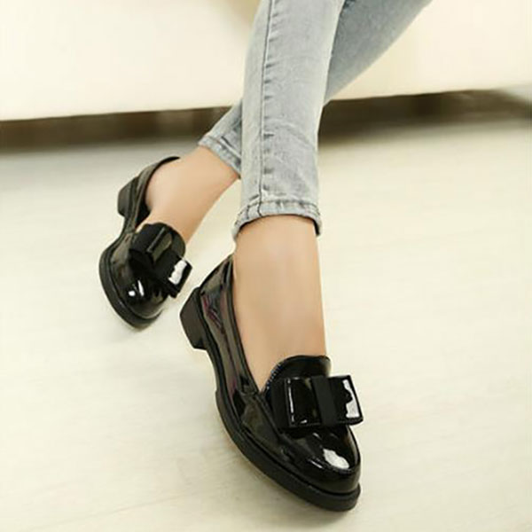 New Women Fashion Flats PU Black Slip-On Low Heal Casual Flat Loafers Shoes