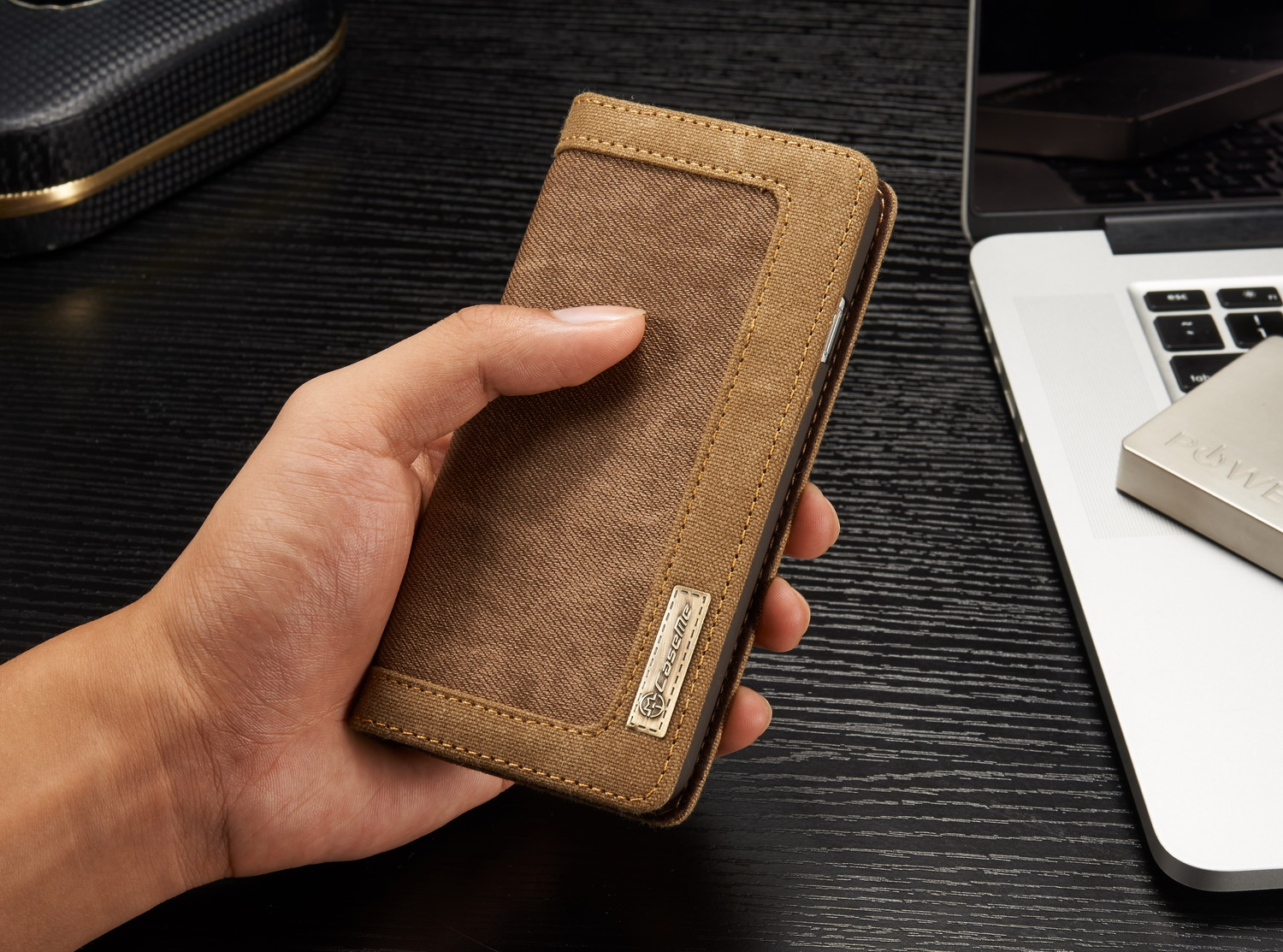 Caseme Canvas Leather Kickstand Wallet Case For iPhone 7/8